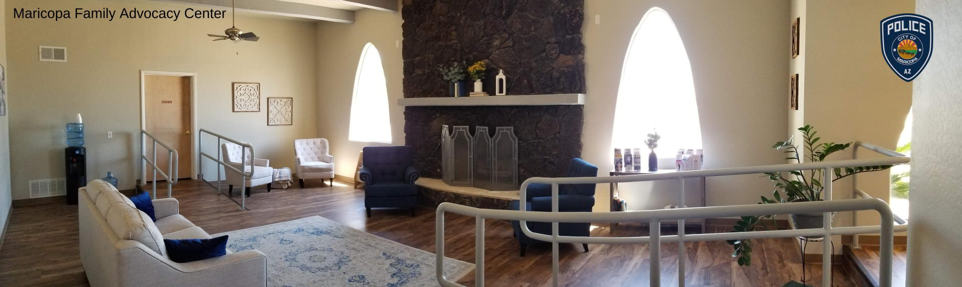 Panoramic photo of the FAC waiting area from the Volunteer Desk